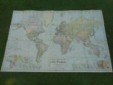 100% ORIGINAL LARGE WORLD FOLDING MAP ON LINEN BY GROSS/GEOGRAPHIA  C1920/S