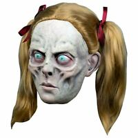 Zombie Ghost Girl Adult Scary Halloween Costume Overhead Mask w/ Pigtails Wig
