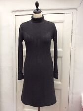 APANAGE Women's Grey Wool Polo Neck Knitted Dress S/8-10