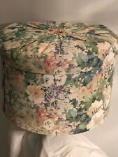 Vtg Hat Box Extra Lg Floral Fabric Tufted Lid 16� X11� Storage Closet Organizer