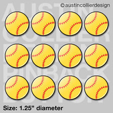 """(12) SOFTBALL 1.25"""" pinback buttons / badges - team gift pins party favor trade"""