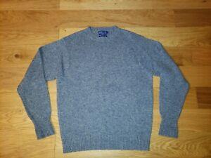 Pendleton Mens Washable 100% Shetland Wool Sweater Blue Pullover LARGE