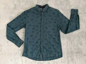 Steel Jelly Size LARGE Men's Floral Button Down Up Long Sleeve Shirt EUC