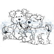 New Stampavie XMAS PUPPIES Clear Stamp Winter Holidays Christmas Stocking Dog