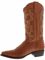 Men's New Leather Ostrich Quill Design Western Cowboy Rodeo Boots J Toe Cognac