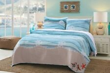 Tropical Bedding Quilt Set Twin Size Bed Comforter Shams Cover Blue Wave Bird
