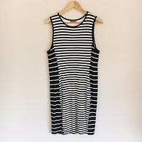 Vince Camuto Womens Size Large Black and White Striped Stretchy Bodycon Dress