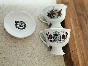 OWL OF THE DREAMER & OSCAR WILDE Hendricks Gin 2 tea Cups 1 SAUCER