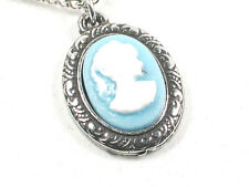 Victorian Blue Cameo pewter pendant and chain