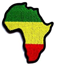 Africa Continent Map Patch Green Yellow Gold Red Embroidered Iron Sew On Rasta