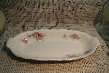 antique old oblong oval serving dish platter bowl pink blue green flowers KT&K