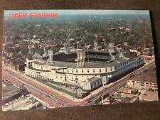 Detroit Michigan Tiger Stadium chrome postcard aerial view