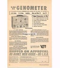 1955 Moss TV-50 Genometer Signal generator TV Radio Service Repair Vtg Print Ad