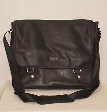 LODIS Leather HUNTER MESSENGER BAG Business TOTE Briefcase BLACK NWOT
