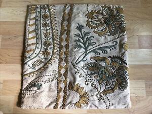 "Pottery Barn Palampore Paisley Crewel Embroidered 18"" Pillow Cover Tan/Gold/Aqua"