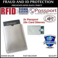 3x Passport 10x RFID Blocking ID Credit Card Protector Sleeve holder - AU STOCK