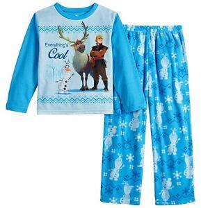 NWT Frozen 2 II Pajamas Size 8,10 Boys Winter Fleece Pant Set Olaf Kristoff Sven
