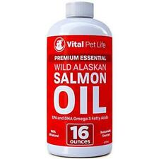 Salmon Oil for Dogs & Cats, Fish Oil Omega 3 EPA DHA Liquid Food Supplement for