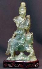 art chine superbe Guanyin à cheval ancien Fluorine quartz vert sculpté 27cm1.6kg