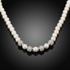 18k 18CT White Gold Filled GF Crystals Pearl Necklace NA561 Wedding Gift