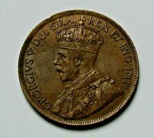 1917 CANADA George V Coin - Large Cent (1¢) - brown