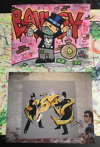 Banksy and Will $treet test Prints / barely legal Art dismaland walled off kaws