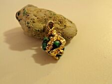 Vintage Lander County Turquoise Necklace Pendant Wrapped w/10k Gold Ribbon 3.7g