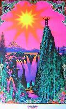 FLOCKED Vintage 1970 Psychedelic~GARDEN OF EDEN~Blacklight Poster
