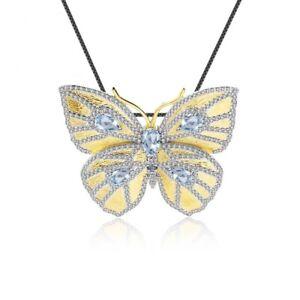 925 SS Golden Gemstone Natural Sky Blue Topaz Butterfly Pin Pendant Necklace
