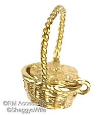 Basket Charm Easter, Sewing, Picnic Pendant EP Gold Plated Lifetime Guarantee