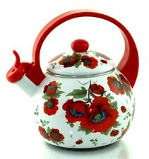 Whistling Kettle Enamel Poppy seeds 2.2 L Induction All cookers Vintage