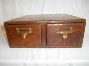 Antique Library Bureau Sole Makers 2 Drawer Oak Card catalog Index File Cabinet