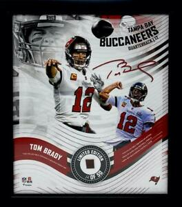 """TOM BRADY Buccaneers Framed 15"""" x 17"""" Game Used Football Collage LE 12/50"""