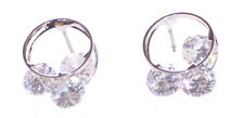 Magnificent -Chrome Bind /exquisite Trio Diamond Stud Metal Earrings(Ns23)