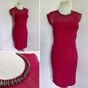 MONSOON Raspberry Red Embellished Jewelled Neck Dress 14 Cocktail Evening Party