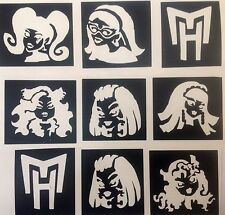 9 x Stencil MONSTER HIGH TOP UP YOUR GLITTER TATTOO KIT FACE PAINTING AEROGRAFO