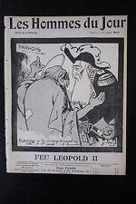 FEU LEOPOLD II ROI BELGIQUE CARICATURE DESSIN LES HOMMES DU JOUR N° 101 de 1909
