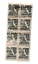 CANADA;1954 National Wildlife Week 15c block of 8 Morus bassanus parcel post*S