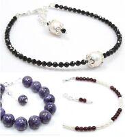Sugilite Black Spinel Almandine Garnet Pearl Sterling Silver Bracelet Birthday G