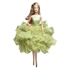 Barbie Ball Gown Strapless Layers of Organza Green Dress