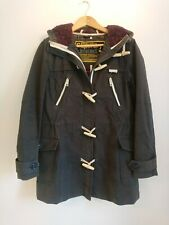Ladies Superdry Duffle Coat Size Small S UK 8 Washed Black / Dark Grey Harbour