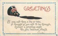 Artist impression 1914 Arts Crafts Spilled ink writing saying postcard 7545