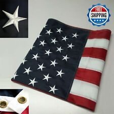 2 - 3' x 5' FT Embroidered U.S.A. American Flag with Brass Grommets - TWO PACK