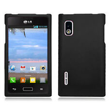 For LG Optimus Extreme L40G Rubberized HARD Case Snap On Phone Cover Black