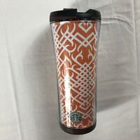 Starbucks Tumbler 2008 Travel Mug Cup Orange White Tribal Coffee 16oz Drink Tea