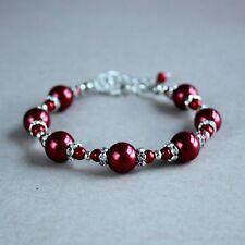 Dark wine red silver pearls beaded bracelet wedding bridesmaid bridal accessory