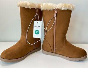 NWT Cat & Jack Girls' Kameryn Faux Fur Shearling Boots - Chestnut - Sizes 2 - 4