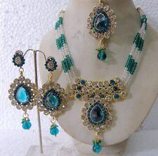 INDIAN BRIDAL BLUE & WHITE GOLD PLATED KUNDAN NECKLACE SET