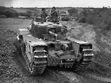 B&W WW2 Photo WWII British Churchill Tanks in Action