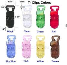 100 Baby Paci Badge T Plastic Clips Bib Holder ANY CLR